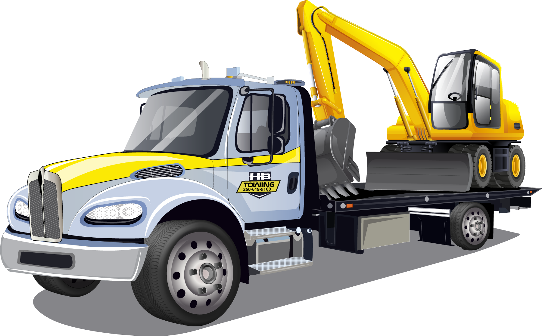 HB Towing Tow Truck illustration of a truck hauling a excavator